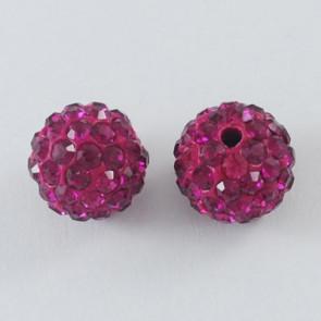 fimo perle s kristali Fuchsia, 10 mm, velikost luknje: 1.5 mm, 1 kos