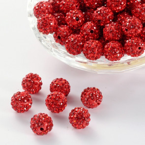 fimo perle s kristali Light Siam, 10 mm, velikost luknje: 1.5 mm, 1 kos