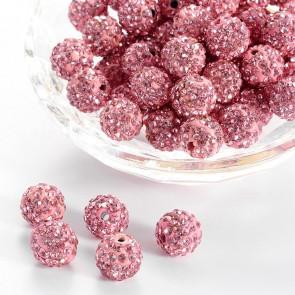 fimo perle s kristali Light Rose, 10 mm, velikost luknje: 1.5 mm, 1 kos