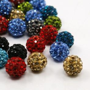 fimo perle s kristali mix, 10 mm, velikost luknje: 1.5 mm, 1 kos