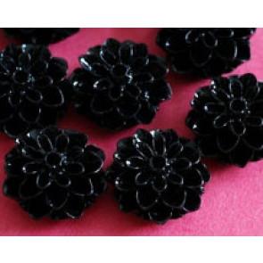 roža - umetna masa, 15x8 mm, črna, 1 kos