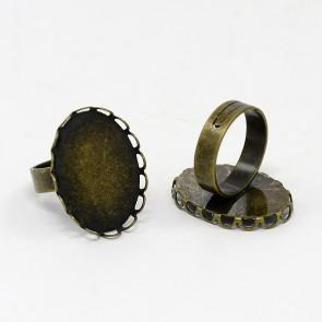 osnova za prstan za kapljico 18 x 25 mm, premer nastavljivega obročka: 17mm, antik, 1 kos