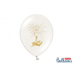 """balon, pastelno čisto bel z zlatom, """"Sveto obhajilo"""", 27 cm, 1 kos"""
