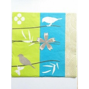 papirnate serviete 40x40 cm, 3-slojne, ptice, 1 kos