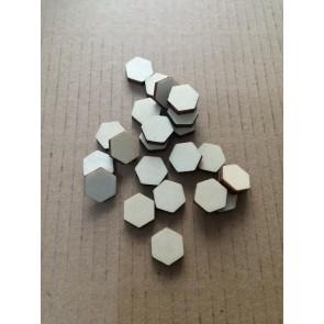 lesena kapljica - šestkotnik 10 mm, ploščata, naravna, 1 kos