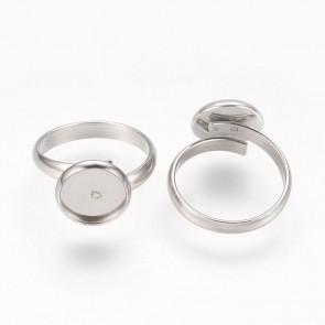 osnova za prstan za kapljico 10 mm, premer nastavljivega obročka: 17 mm, nerjaveče jeklo, 1 kos