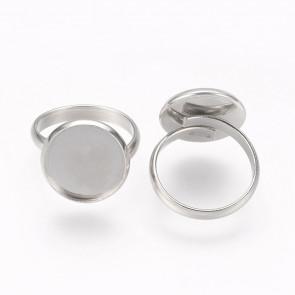 osnova za prstan za kapljico 14 mm, premer nastavljivega obročka: 17 mm, nerjaveče jeklo, 1 kos