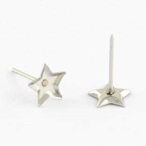 osnova za uhane 7x7x1.5 mm, zvezdica, nerjaveče jeklo, velikost kapljice: 7x7 mm, 1 kos