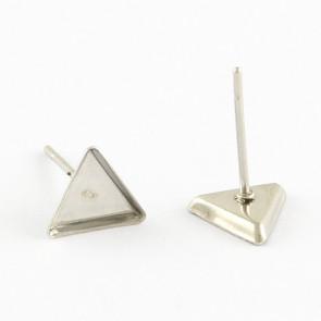 osnova za uhane 8x7x2 mm, trikotnik, nerjaveče jeklo, velikost kapljice: 7x8 mm, 1 kos