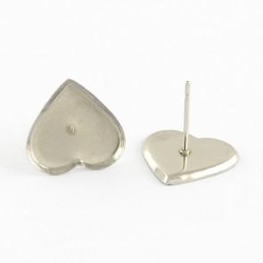 osnova za uhane 9x8x1.5 mm, srček, nerjaveče jeklo, velikost kapljice: 8x9 mm, 1 kos
