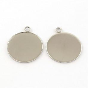 osnova za obesek - medaljon 30.5x26x1.5 mm, nerjaveče jeklo, velikost kapljice: 25 mm, 1 kos