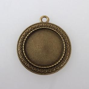 osnova za obesek - medaljon 39x35x2mm, antik, brez niklja, velikost kapljice: 25 mm, 1 kos