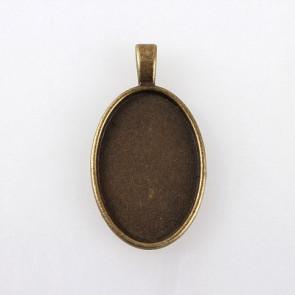 osnova za obesek - medaljon 42x23x6 mm, antik, brez niklja, velikost kapljice: 20x30 mm, 1 kos