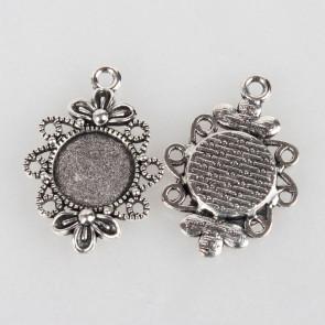osnova za obesek - medaljon 30x21x3 mm, barva starega srebra, velikost kapljice: 12 mm, 1 kos