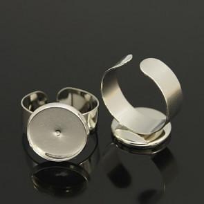 osnova za prstan za kapljico 14 mm, premer nastavljivega obročka: 18 mm, platinaste b., 1 kos