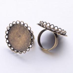 osnova za prstan za kapljico 25 mm, premer nastavljivega obročka: 18 mm, antik, brez niklja, 1 kos