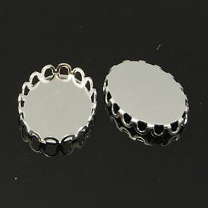 osnova za obesek - medaljon 19x14 mm, srebrne b., velikost kapljice: 18x13 mm, 1 kos