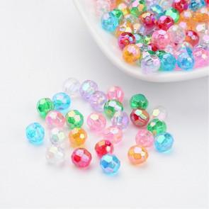 "plastične perle, ""nepravilno"" okrogle 6 mm, AB mix, velikost luknje: 1 mm, 200 kos"