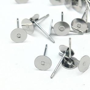 osnova za uhan 12x6x0.7mm, nerjaveče jeklo, velikost ploščice: 6 mm, 10 kos