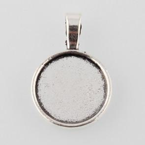 osnova za obesek - medaljon 31x21x2 mm, barva starega srebra, velikost kapljice: 18 mm, 1 kos