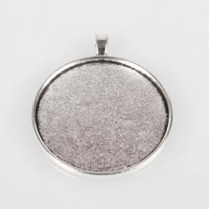 osnova za obesek - medaljon 52x43x3 mm, b. starega sr., velikost kapljice: 40 mm, 1 kos