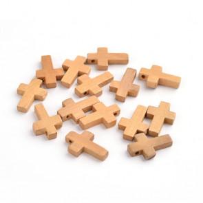 leseni obesek - križ 22x14x4 mm, rjav, 1 kos