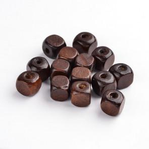 lesene perle 10 mm, kocka, temno rjave, velikost luknje: 3.5 mm, 100 kos