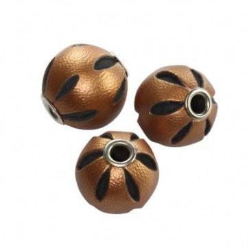 usnjene perle 14 mm, rjave, 1 kos