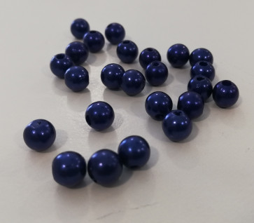 plastične perle okrogle, 8 mm, royal blue, 50 gr