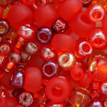 toho perle 2-4 mm, momoji red mix, 25 g