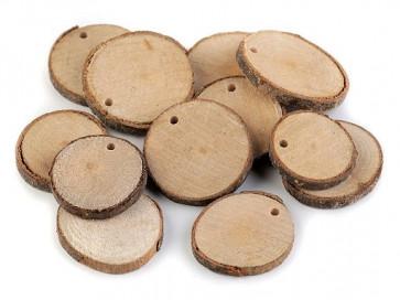 leseni obesek z luknjo, 30-40 mm, debelina 5 mm, 1 kos