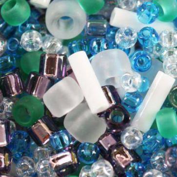 toho perle 1-1,6 mm, fuji- white/green/blue/purple mix, 25 g
