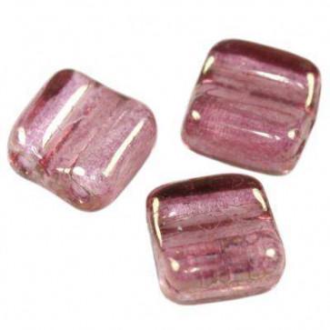 steklene perle,  roza barve - mat, 6 x 6 mm - 2 luknji, 1 kos