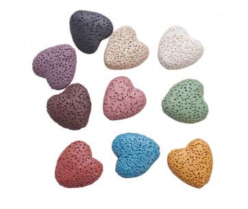lava perle, oblika srca, 20x21 mm, mix b., 1 kos