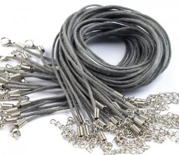bombažna osnova za ogrlico 45 cm, siva, 1 kos