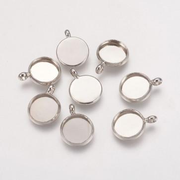 osnova za obesek - medaljon 12 x 2 mm, platinaste b., brez niklja, velikost kapljice: 10 mm, 1 kos