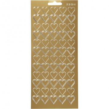 nalepke, 10x23 cm, samolepilne, zlati srčki, 1 pola (cca 60 kos)