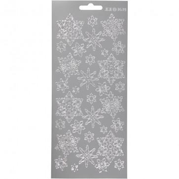 božične nalepke, 10x23 cm, samolepilne, zvezde srebrne, 1 pola