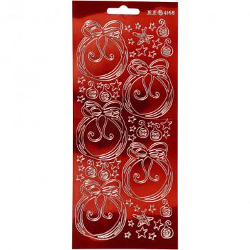 božične nalepke, 10x23 cm, samolepilne, zlate (transparent rdeča), 1 pola