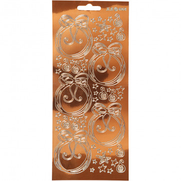 božične nalepke, 10x23 cm, samolepilne, zlate (transparent kobber), 1 pola