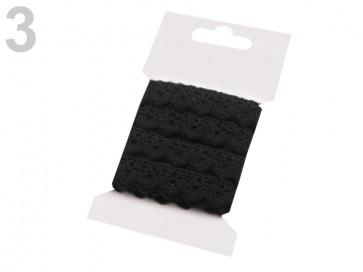 bombažni trak - videz čipke, 15 mm, črne b., 3 m