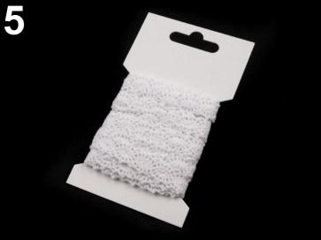 bombažni trak - videz čipke, 12 mm, bel, 3 m