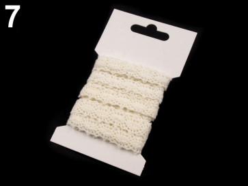 bombažni trak - videz čipke, 12 mm, off white, 3 m