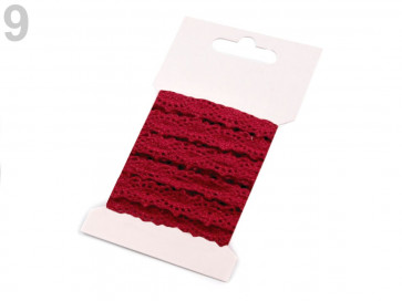 bombažni trak - videz čipke, 12 mm, temno rdeč, 3 m