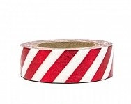 Washi tape - dekorativni lepilni trak - belo-rdeče b., širina: 1.5 cm, dolžina: 10 m, 1 kos