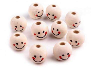 lesene perle z obrazom 18 mm, velikost luknje: 4 mm, 1 kos