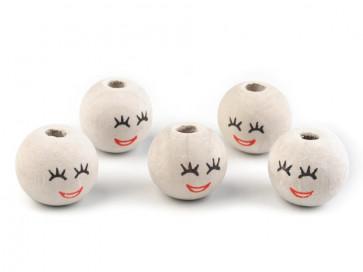 lesene perle z obrazom 18 mm, velikost luknje: 5 mm, 1 kos