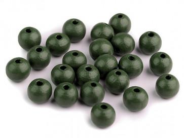 "lesene perle okrogle 10 mm, t. zelene ""khaki"", 50 g (caa 175 kos)"