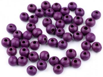 lesene perle okrogle 8 mm, t.vijolične, 50 g (caa 300 kos)