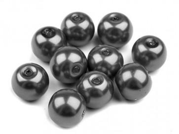 steklene perle - imitacija biserov, velikost: 8 mm, t. sive b., 50 g (ca.74-78 kos)